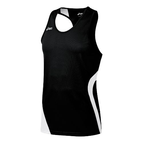 Mens ASICS Wicked Singlets Technical Tops - Black/White L