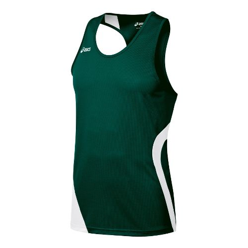 Mens ASICS Wicked Singlets Technical Tops - Forest/White S