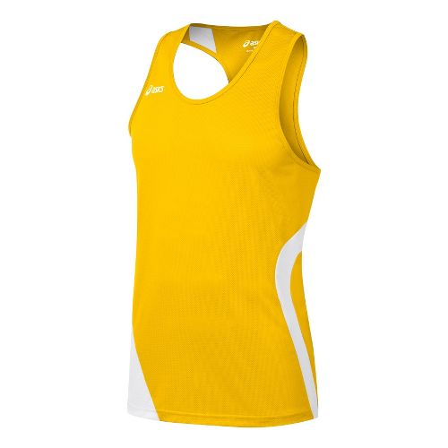 Mens ASICS Wicked Singlets Technical Tops - Gold/White L