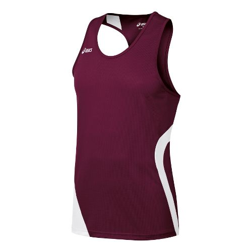 Mens ASICS Wicked Singlets Technical Tops - Maroon/White S