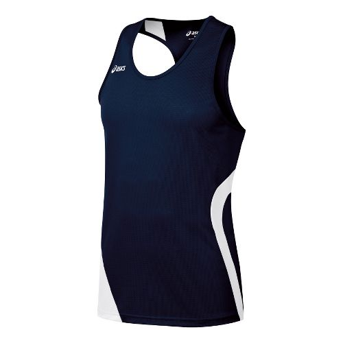Mens ASICS Wicked Singlets Technical Tops - Navy/White L