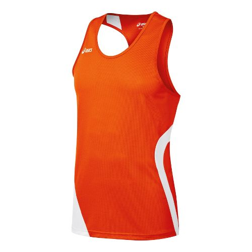 Mens ASICS Wicked Singlets Technical Tops - Orange/White M