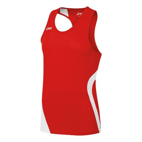 Mens ASICS Wicked Singlets Technical Tops - Red/White XXL
