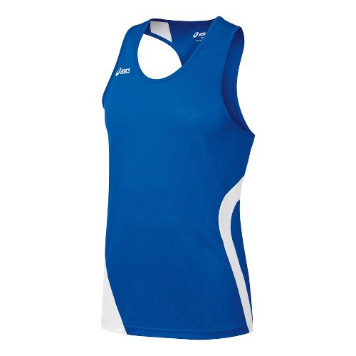 Mens ASICS Wicked Singlets Technical Tops - Royal/White L