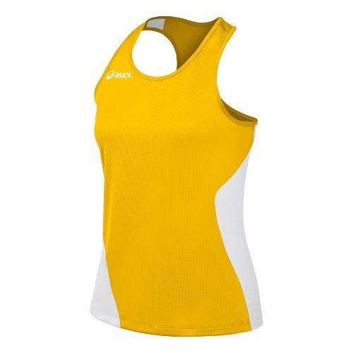 Womens ASICS Wicked Singlets Technical Tops - Gold/White M