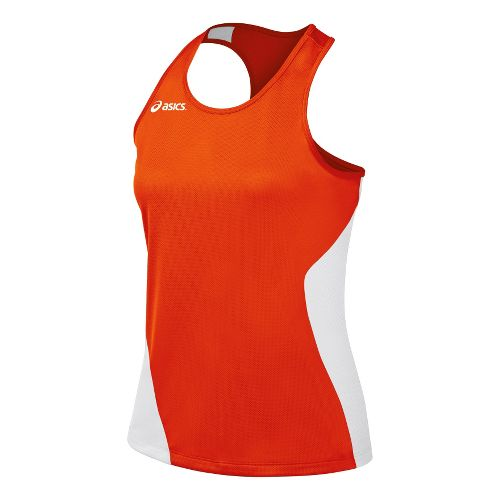 Womens ASICS Wicked Singlets Technical Tops - Orange/White L