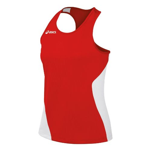 Womens ASICS Wicked Singlets Technical Tops - Red/White M