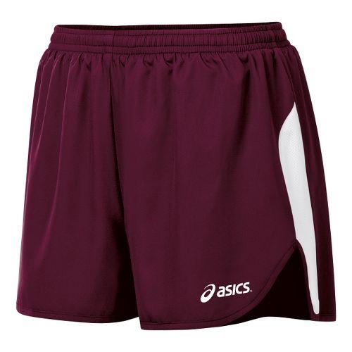 Womens ASICS Wicked 1/2 Splits Shorts - Maroon/White XS