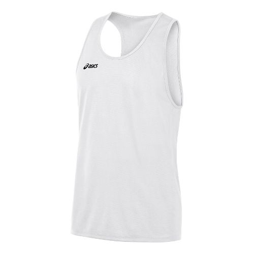 Mens ASICS Rival Singlets Technical Tops - White S