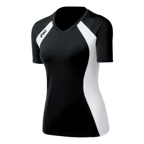 Womens ASICS Aggressor Jersey Short Sleeve Technical Tops - Black/White XL