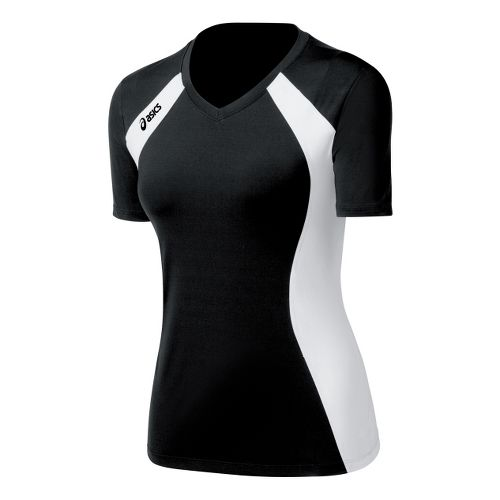 Womens ASICS Aggressor Jersey Short Sleeve Technical Tops - Black/White XS