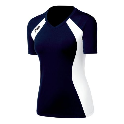 Womens ASICS Aggressor Jersey Short Sleeve Technical Tops - Navy/White L