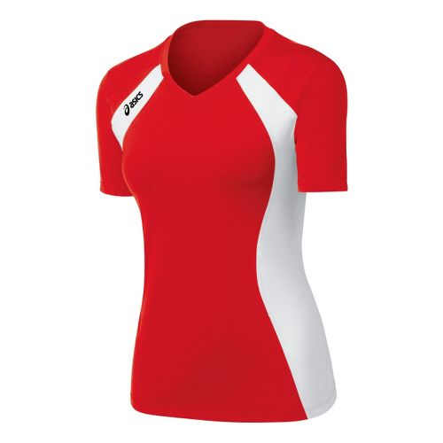 Womens ASICS Aggressor Jersey Short Sleeve Technical Tops - Red/White XS