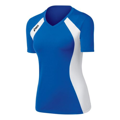 Womens ASICS Aggressor Jersey Short Sleeve Technical Tops - Royal/White XL