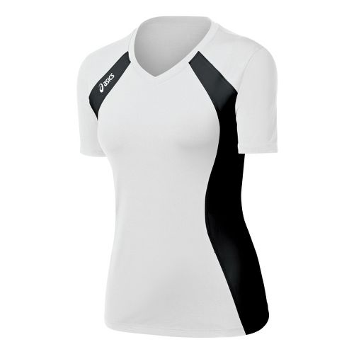 Womens ASICS Aggressor Jersey Short Sleeve Technical Tops - White/Black XL