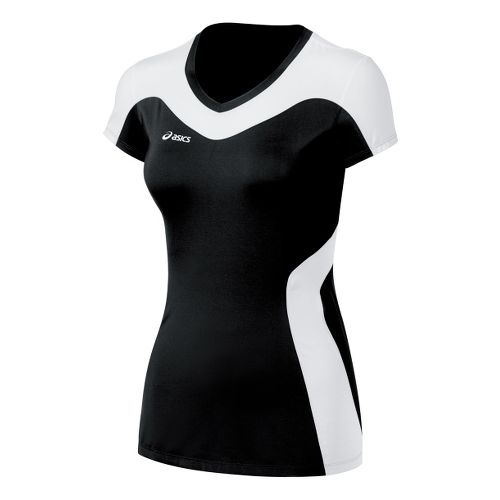 Womens ASICS Rocket Jersey Short Sleeve Technical Tops - Black/White L