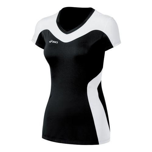 Womens ASICS Rocket Jersey Short Sleeve Technical Tops - Black/White S