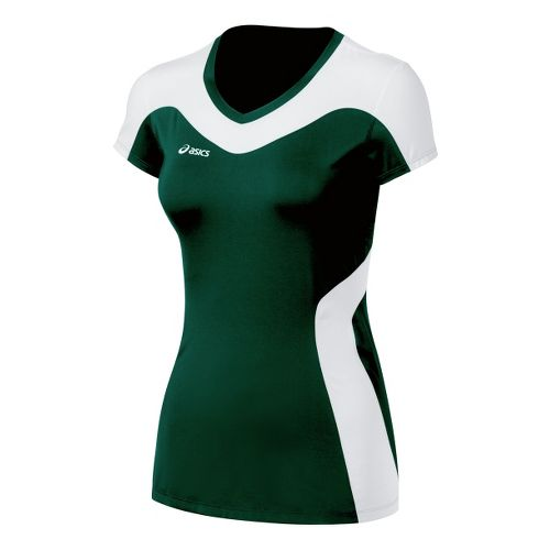 Womens ASICS Rocket Jersey Short Sleeve Technical Tops - Forest/White S