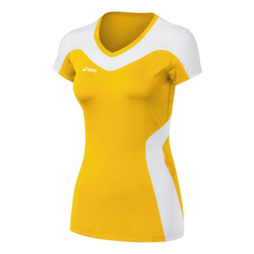 Womens ASICS Rocket Jersey Short Sleeve Technical Tops - Gold/White XXL