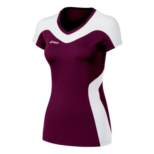 Womens ASICS Rocket Jersey Short Sleeve Technical Tops - Maroon/White XS