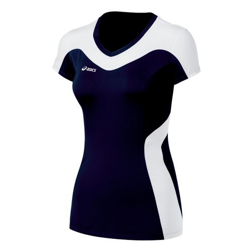 Womens ASICS Rocket Jersey Short Sleeve Technical Tops - Navy/White L