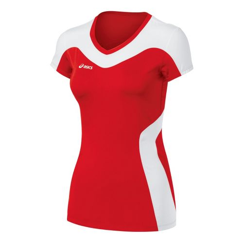 Womens ASICS Rocket Jersey Short Sleeve Technical Tops - Red/White XXL