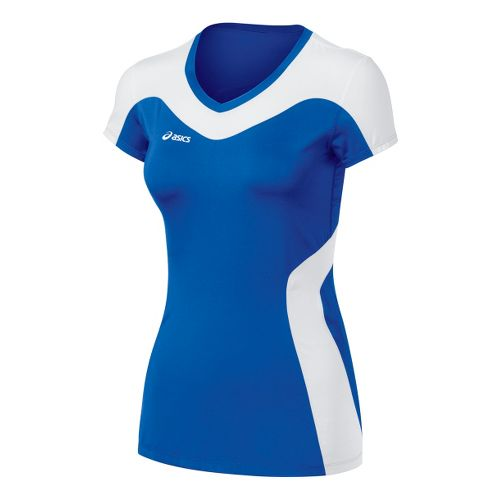 Womens ASICS Rocket Jersey Short Sleeve Technical Tops - Royal/White XL