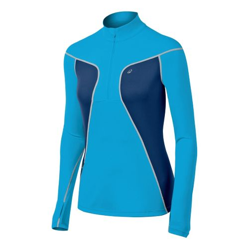 Womens ASICS Lite-Show Favorite Long Sleeve 1/2 Zip Technical Tops - Atomic Blue/Ink L