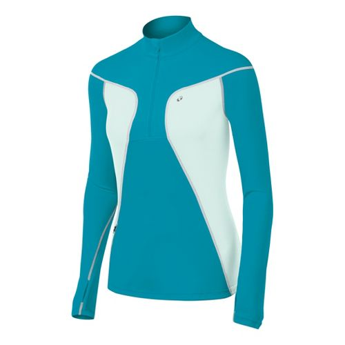 Womens ASICS Lite-Show Favorite Long Sleeve 1/2 Zip Technical Tops - Enamel/Blue XL