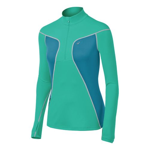 Womens ASICS Lite-Show Favorite Long Sleeve 1/2 Zip Technical Tops - Mint/Jade XS