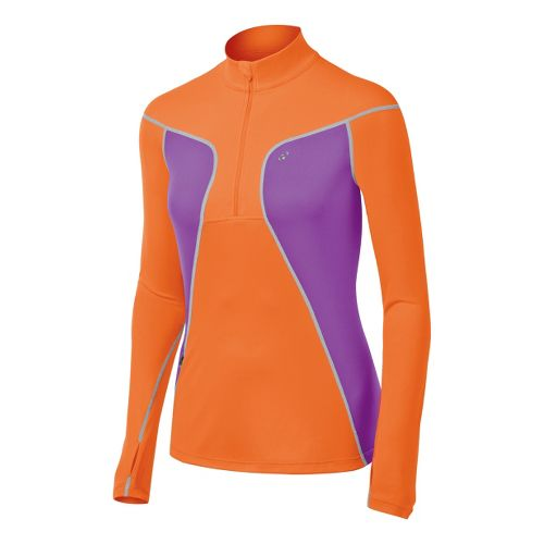 Womens ASICS Lite-Show Favorite Long Sleeve 1/2 Zip Technical Tops - Orange Burst/Purple Pop S ...