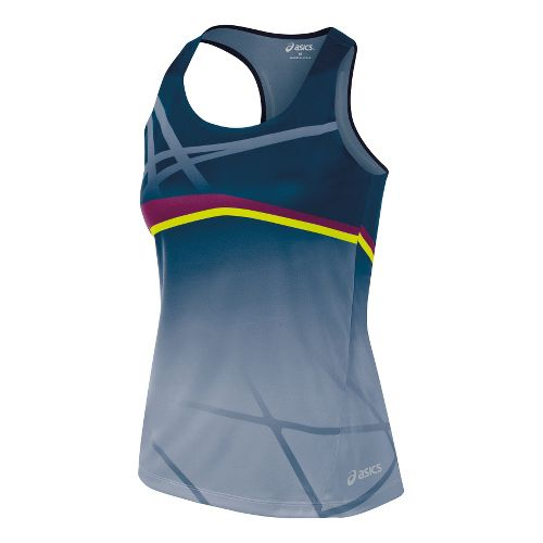 Womens ASICS Kayano Singlets Technical Tops - Blue/Plum L