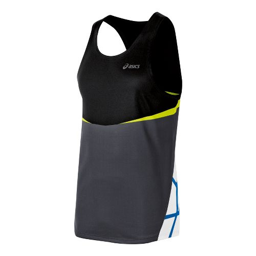 Mens ASICS Kayano Singlets Technical Tops - Black/WOW L