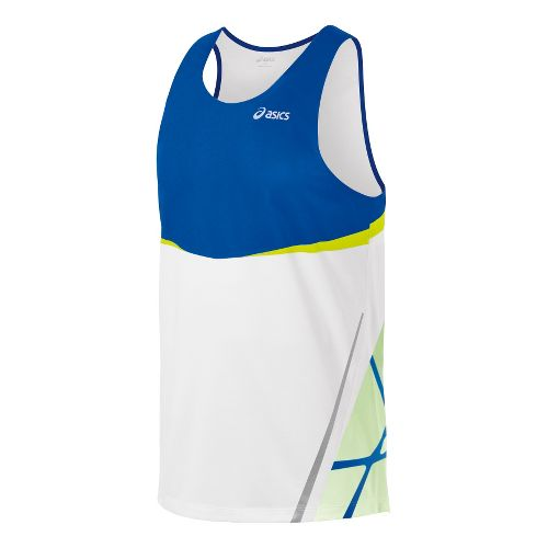 Mens ASICS Kayano Singlets Technical Tops - Royal Blue/WOW S