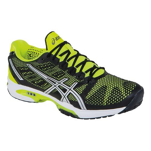Mens ASICS GEL-Solution Speed 2 Court Shoe - Onyx/Flash Yellow 11.5