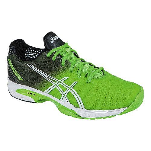 Mens ASICS GEL-Solution Speed 2 Court Shoe - Flash Green/White 11.5