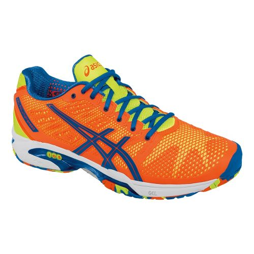 Mens ASICS GEL-Solution Speed 2 Court Shoe - Flash Orange/Blue 12.5