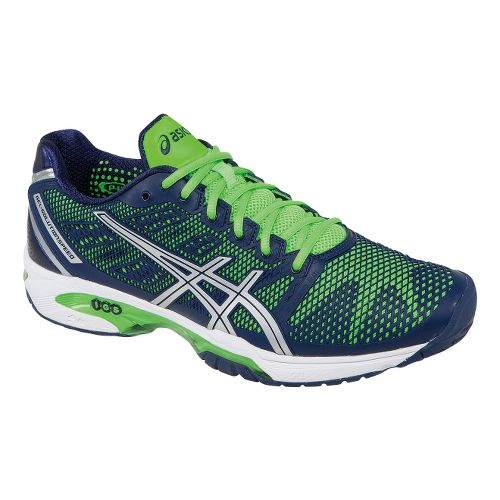 Mens ASICS GEL-Solution Speed 2 Court Shoe - Navy/Neon Green 10.5