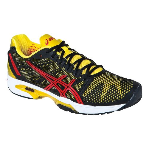 Mens ASICS GEL-Solution Speed 2 Court Shoe - Onyx/Flash Yellow 7