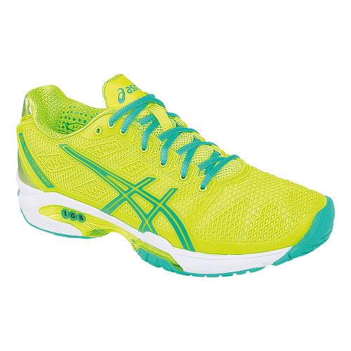 Womens ASICS GEL-Solution Speed 2 Court Shoe - Flash Yellow/Mint 11