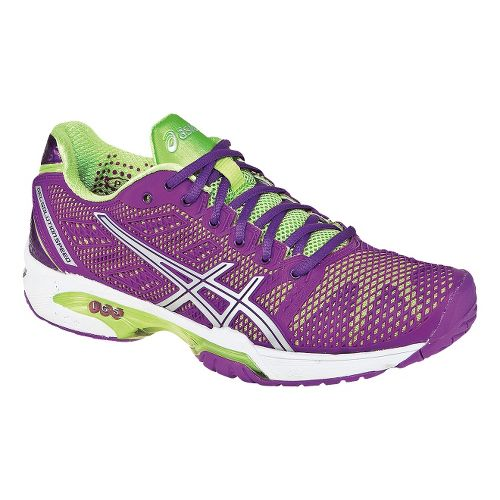 Womens ASICS GEL-Solution Speed 2 Court Shoe - Flash Yellow/Mint 11.5
