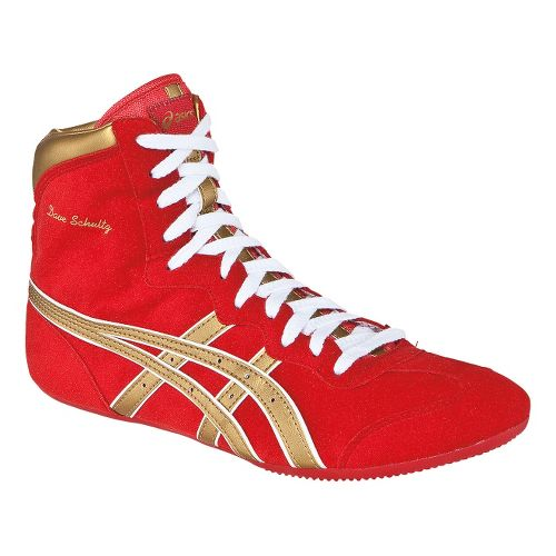 Mens ASICS Dave Schultz Classic Wrestling Shoe - Red/Gold 6.5
