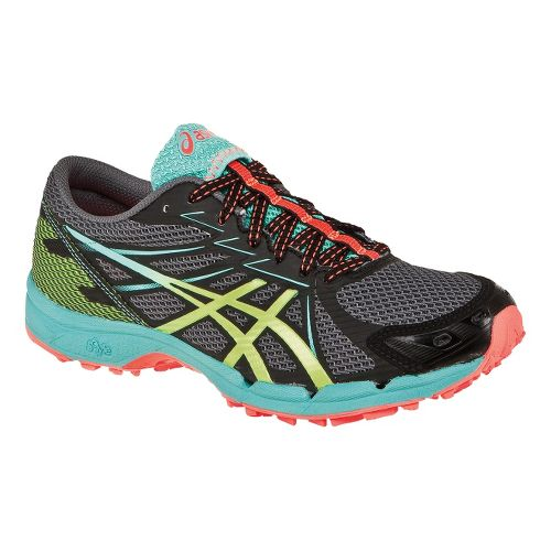 Womens ASICS GEL-FujiRacer 3 Trail Running Shoe - Dark Charcoal/Sharp Green 5