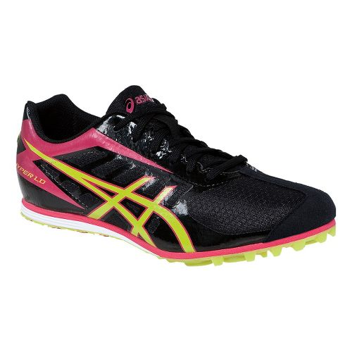 Womens ASICS Hyper LD 5 Track and Field Shoe - Black/Lime 7.5