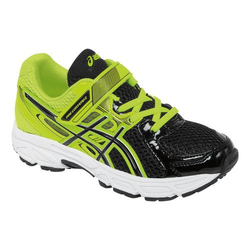 Kids ASICS PRE-Contend 2 PS Running Shoe - Black/Flash Yellow 10