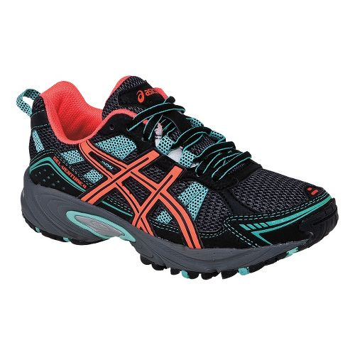 Kids ASICS GEL-Venture 4 GS Trail Running Shoe - Dark Charcoal/Coral 6.5