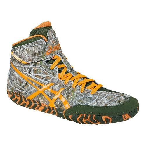 Mens ASICS Aggressor 2 L.E. Wrestling Shoe - Green/Blaze Orange 13