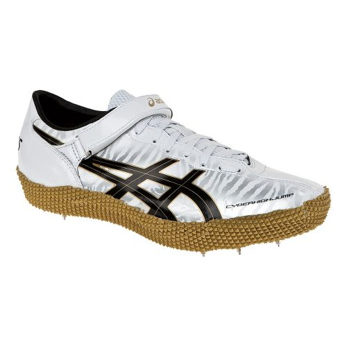 Mens ASICS Cyber High Jump London LFT Track and Field Shoe - White/Gold 6.5
