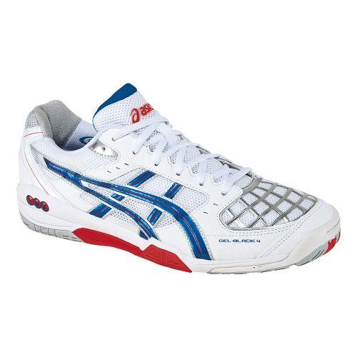 Mens ASICS GEL-Blade 4 Court Shoe - White/Royal 6.5