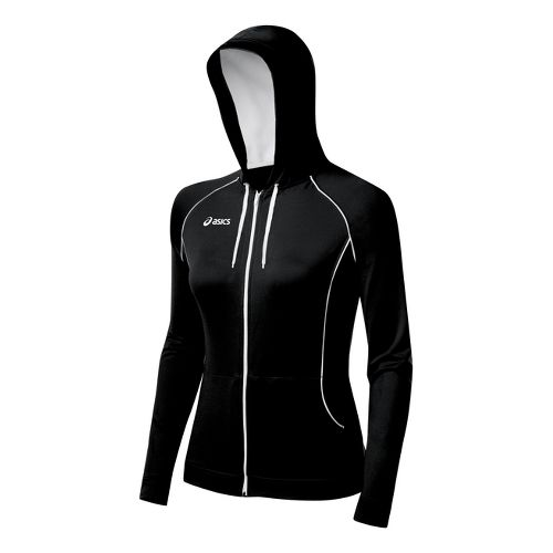 Womens ASICS Alana Warm-Up Hooded Jackets - Black/White 2X